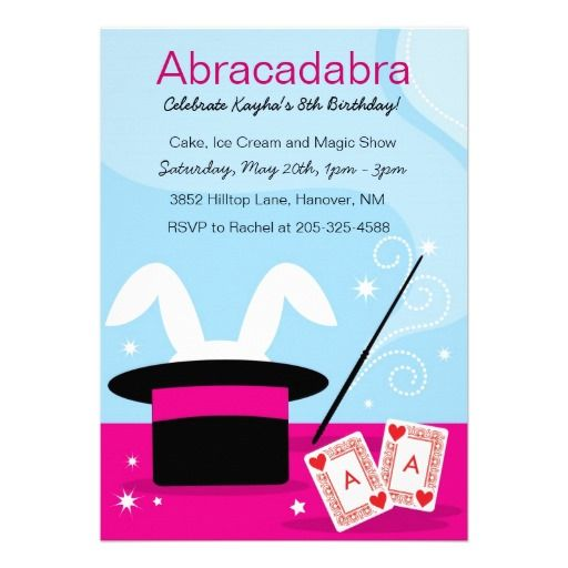 20 best magic show birthday party invitations images on pinterest girls magic show birthday party invitations stopboris Images