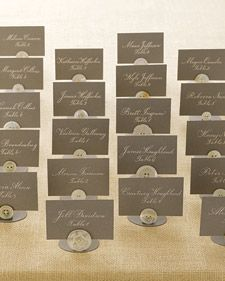 Button Seating Cards - Martha Stewart Weddings Inspiration