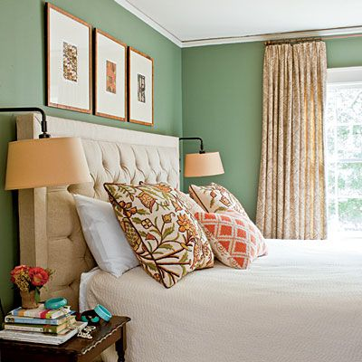 very tastefully done, and it works without anything really matching... paint color's nice too, BM Lush.: Wall Colors, Guest Room, Idea, Green Wall, Master Bedroom, Benjamin Moore
