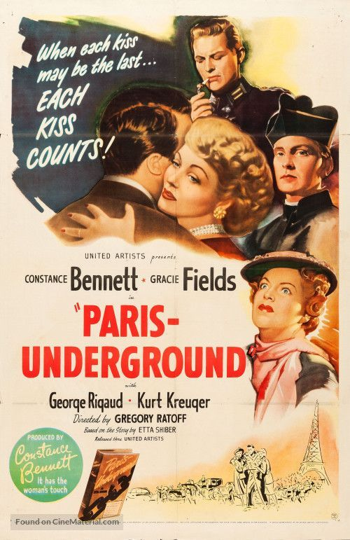 Constance Bennett and Gracie Fields in Paris - Underground. 1945