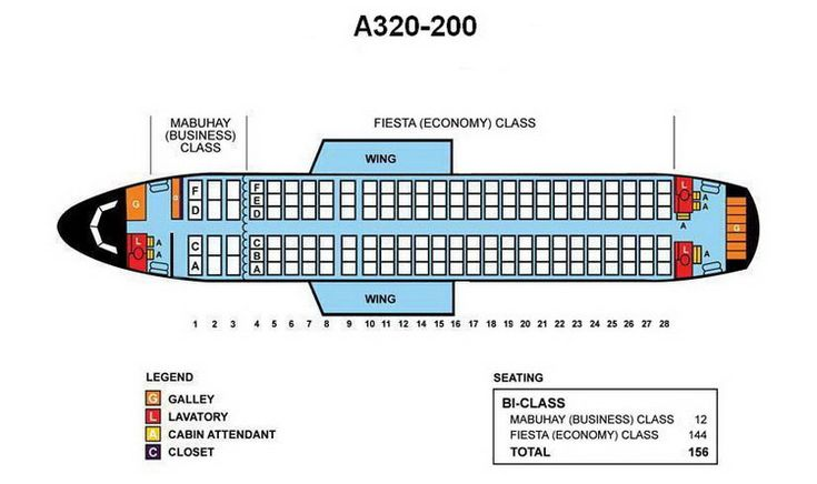 PHILIPPINE AIRLINES AIRBUS A330-200 AIRCRAFT SEATING CHART