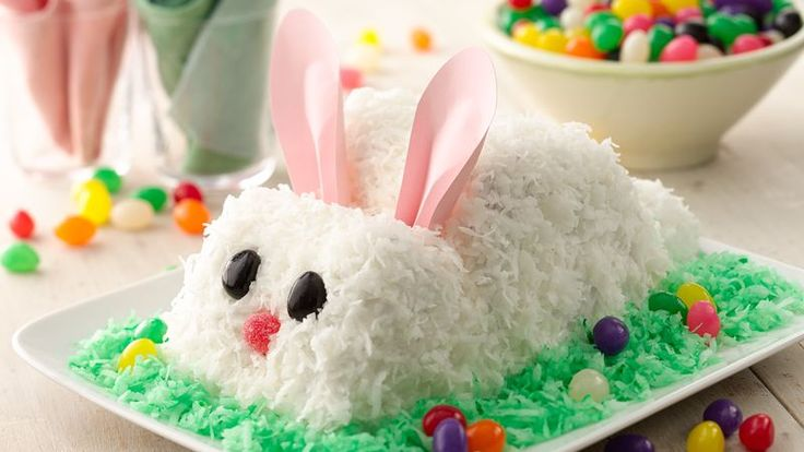 Remember old-fashioned cutout cakes?  This cute bunny is easily made from carrot cake mix frosted and covered with mouthwatering coconut.