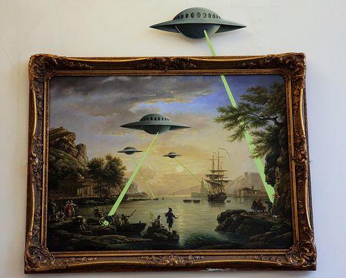 Banksy - UFO Attack/Alien Invasion. Banksy vs Bristol Museum, 2009