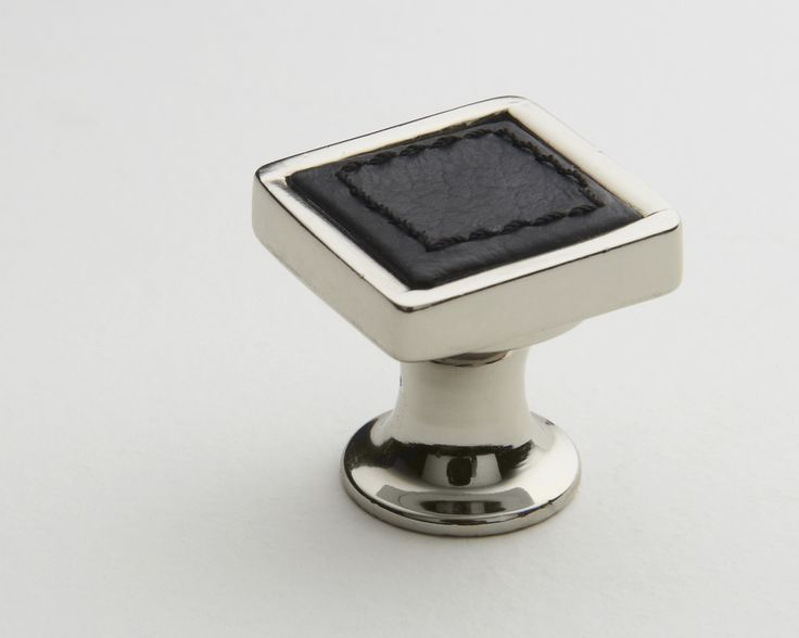 Hepburn Hardware | Polished Chrome knob with black leather