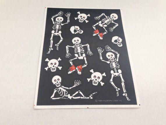 Vintage 80s Sleletons Halloween sticker sheet