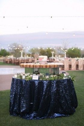 Navy Blue Sequin Wedding Tablecloths