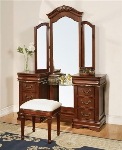tri fold mirror vanity set. 3 pc Classique collection cherry brown finish wood make up vanity dressing  table set with tri fold mirror This includes the Vanity 93 best Tables images on Pinterest Dressing tables