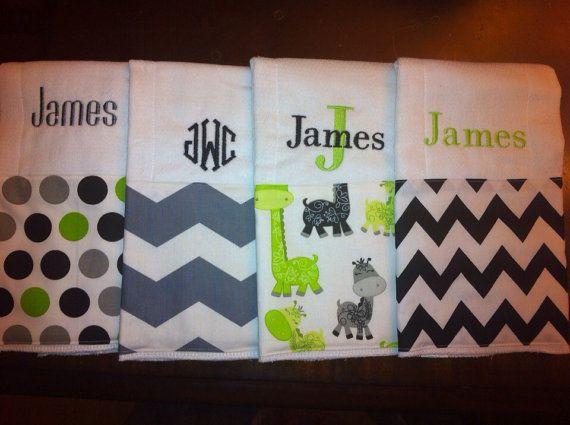 Baby boy burp cloths set of 4 by ThreeTinyMonkeys on Etsy, $12.00
