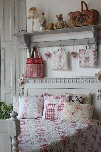 vintage bedroom with cottage shelf above the headboard