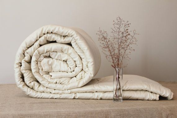 KING DUVET, cool comfort, light, wool filled handmade duvet insert, ecofriendly organic bedding, wool batting blanket beige sateen