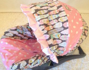 Baby Car Seat Covers, Infant Car Seat Covers, Feathers Infant Car Seat Covers, Pink Infant Car Seat Covers, Baby Car Seat Covers for Girl