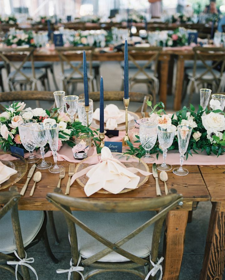 Navy, gold and blush wedding table decor: http://www.stylemepretty.com/2017/02/27/rustic-montana-whitefish-lake-wedding/ Photography: Jeremiah and Rachel - http://jeremiahandrachel.com/