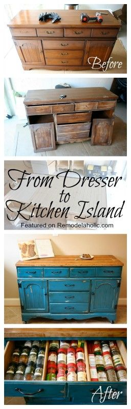 From Dresser to Kitchen Island Tutorial-- this might be a good way to replace my ugly metal shelf in my kitchen.  I'd have to find space for my microwave though.  Maybe on top?