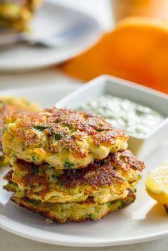 Broccoli and Cauliflower Halloumi Fritters with Coriander Aioli    Gluten-free, grain-free recipe. Click here: http://eatdrinkpaleo.com.au/cauliflower-broccoli-halloumi-fritters/