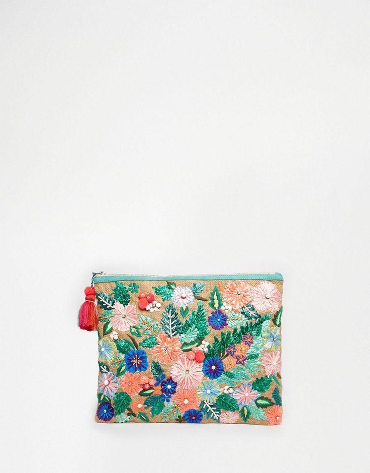 Image 1 ofStar Mela Floral Embroidered Jute Clutch Bag With Pom Pom