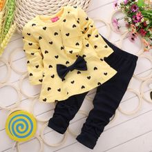 3 color RED green yellow 2016 Children Baby Girl Heart-shaped Autumn Set Bow 2PCS Clothes Set Suit Top Sweater Pants //Price: $US $5.78 & FREE Shipping //     #fashion