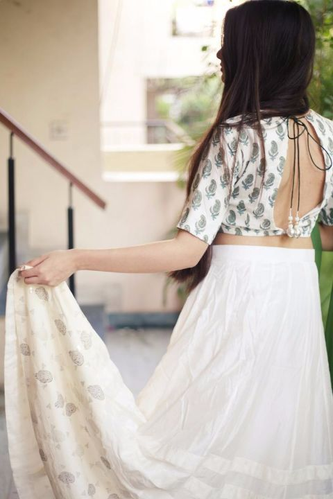 Buy FIZA_White lehenga with block printed blouse and green dupatta