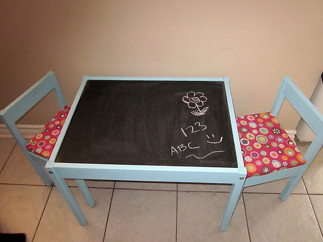 LOVE how they changed the $20 ikea table chair kids set!!!  just spray paint blue and paint with chalk paint, did the pillows with foam base... super cute!
