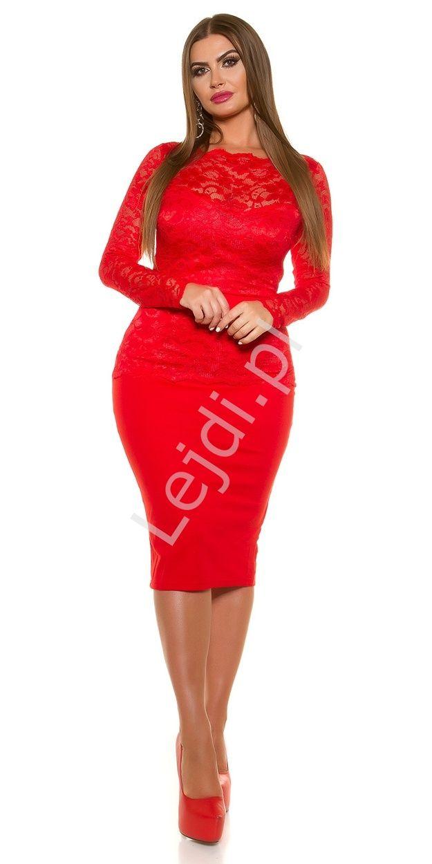 #fashion #dress  Klasyczna czerwona sukienka koronkowa o długości midi. Wykonana z grubej elastycznej tkaniny (mieszanka bawełny i poliestru z elastanem) połączonej z elastyczną koronką o ciekawej fakturze. Sukienka z podszewką. Koronkowa góra sukienki podkreślona paskiem, który pięknie podkreśla talię. Fason wspaniale podkreśla ciało modelując je. Sukienka idealna np. na sylwestra czy studniówkę oraz inne ważniejsze okazje. #sukienka #sukienkawieczorowa #sukienki