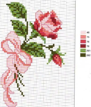 cross stitch,punto de cruz rose