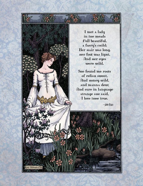 Keats - Victorian Art Poetry Print - La Belle Dame Poem - Magical 19th Century Illustration