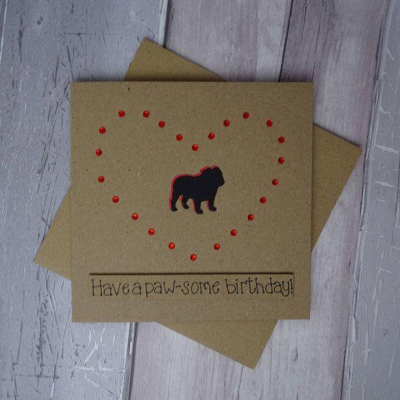 Pug Birthday card Pugs and kisses funny dog card Happy