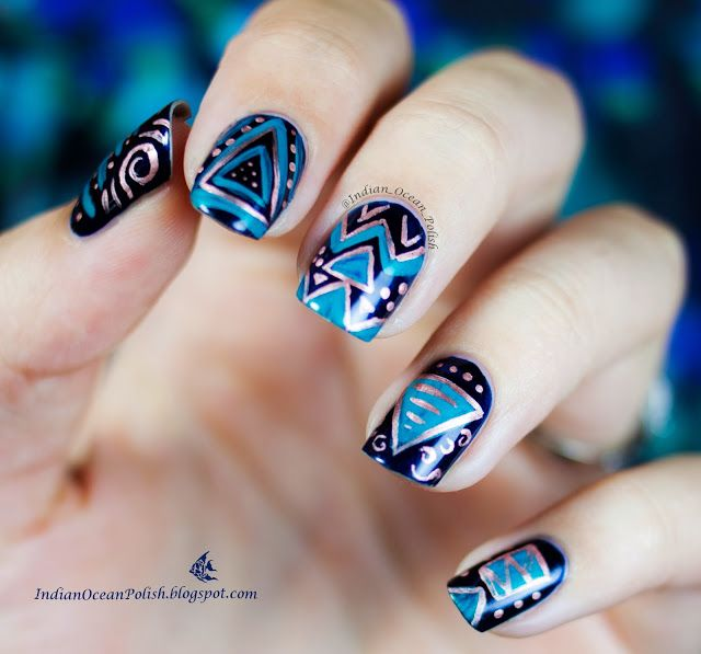Indian Ocean Polish: Triangle Mix and Match Nail Art
