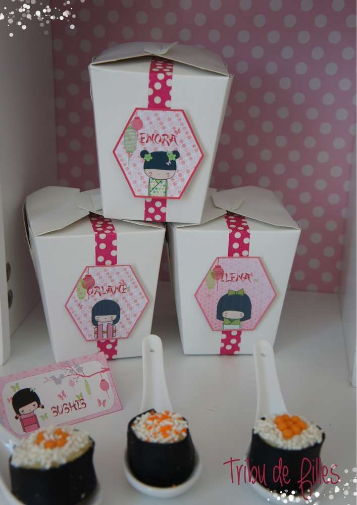 Cute favors at a Kokeshi Birthday Party!  See more party ideas at CatchMyParty.com!