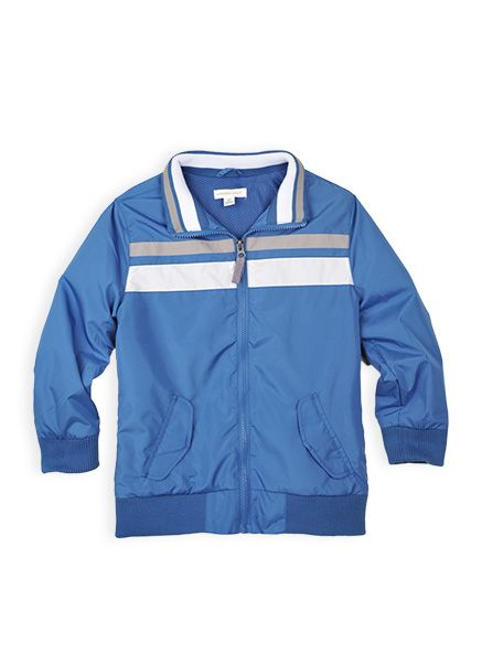 Pumpkin Patch - jackets - chest stripe lined bomber jacket - S4BY40002 - delft blue - 5 to 14