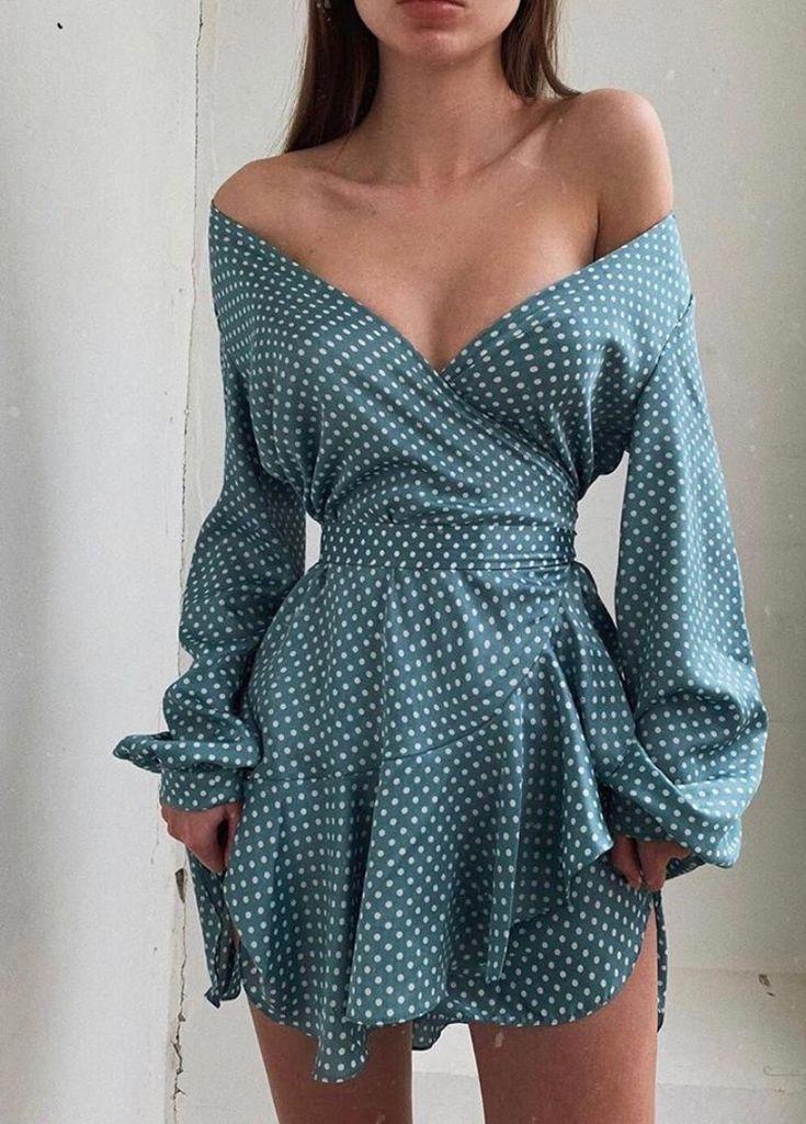 Off Shoulder Dot Print Ruffles Dress