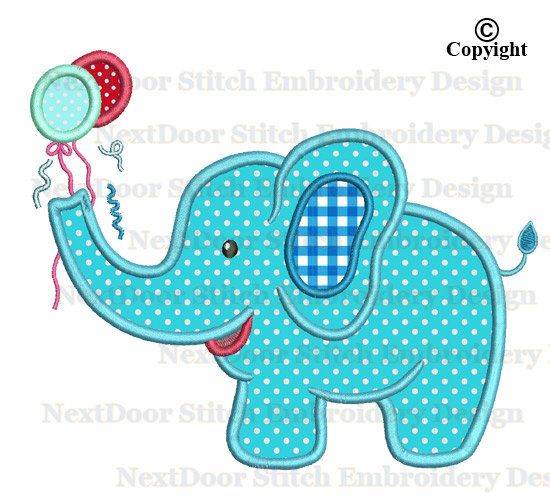 Elephant birthday embroidery applique design design for boy, machine embroidery with balloon, zoo animal file download, elph-009