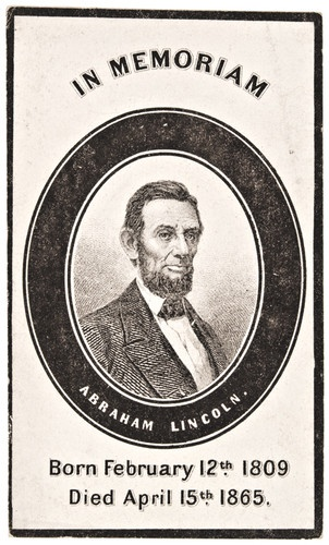 "President Abraham Lincoln ""Mourning"" Carte de Visite with heavy outer black mourning border. (c. 1865). *s*"