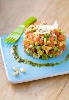 tartare tomate avocat, une bonne recette pur les personnes qui souffrent de diabète et une recette minceur aussi, qu'on adore.