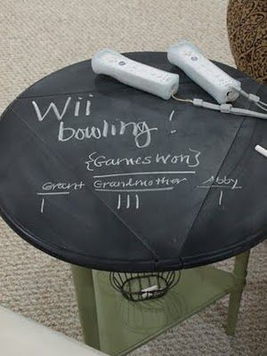 Game Room Chalkboard Table - very cute. Always looking for paper and pen to keep score.