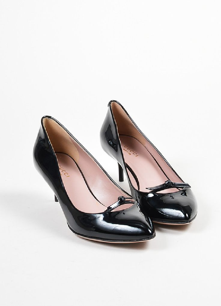 "Black Gucci Patent Leather Bow Pointed Toe ""Beverly"" Heel Pumps"