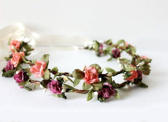 Gelin Çiçek Taç, Çiçek Taç, mor, şeftali, bahar, yaz, başlık, Saç Aksesuarları, bohem, nedime, çiçek kız