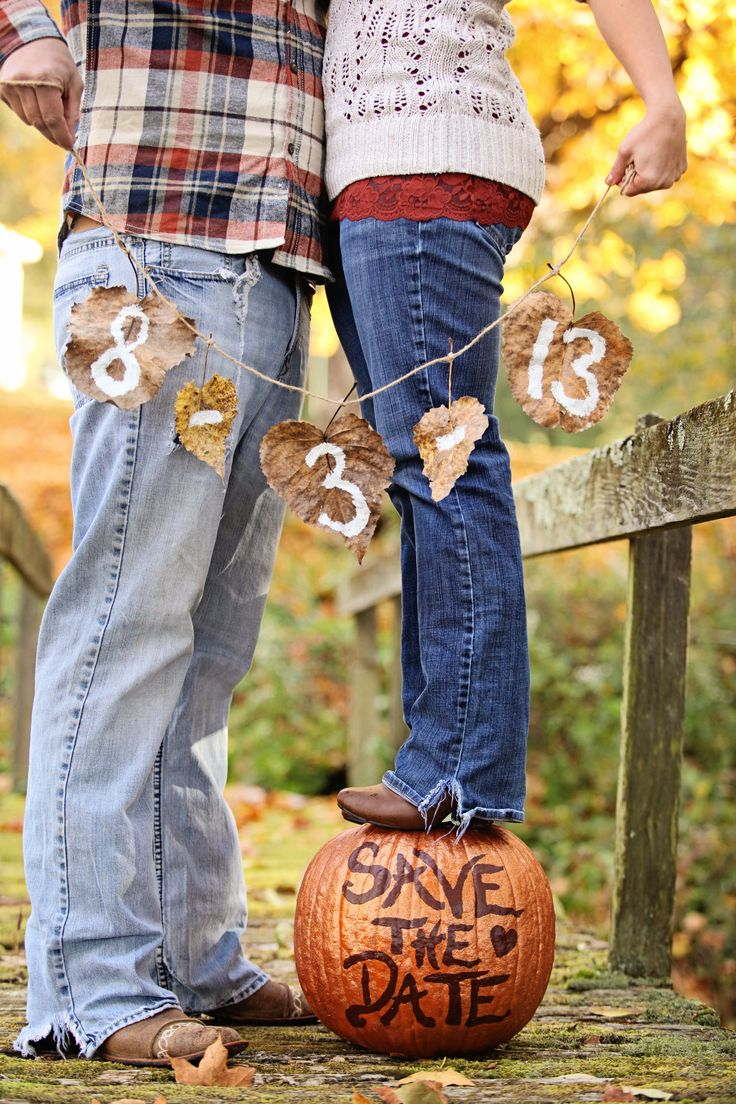 Our fall country Save-the-Date,   pumpkins, outdoors, rustic, nature, DIY save the date