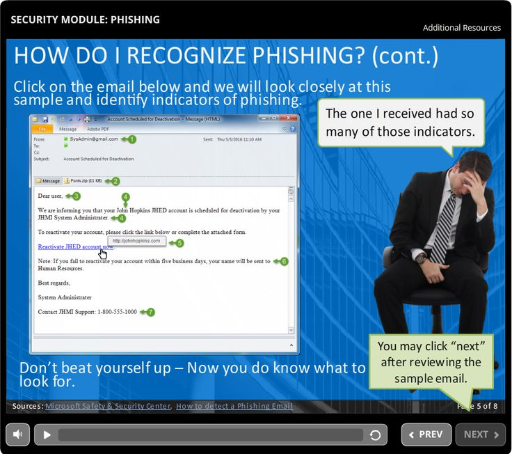 Security Module - Phishing  5 minute course that introduces participants to email phishing scams - How to identify them and what to do if you receive or respond to one.   An eLearning Brothers template was used for page layouts.