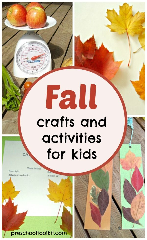 Fall themed crafts and activities for kids from preschooltoolk.com