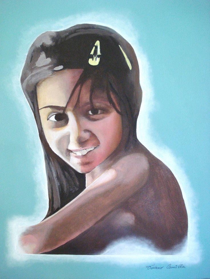 Portrait to Melania (acrylics on canvas measures 40x50 cm) - Ritratto a Melania (colori acrilici su tela di misure 40x50)