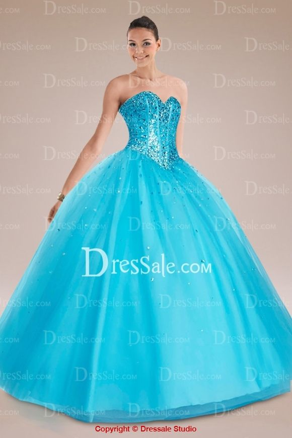 Sky Blue Sweetheart Quinceanera Gown Accented with Sparkling Crystals