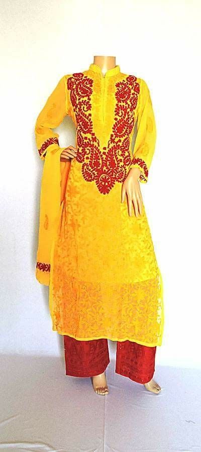Long Lucknowi Chikankari Georgette Yellow colour kurti with dupatta.