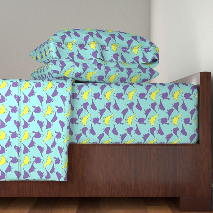 Langshan Sheet Set featuring -Birds_of_a_Feather by wildflowerfabrics | Roostery Home Decor