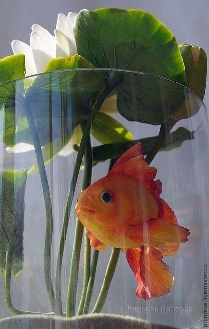 Персональные подарки ручной работы. Золотая рыбка для загадывания желаний (холодный фарфор). Татьяна Пянзина (ПервоцвеТ). Ярмарка Мастеров.