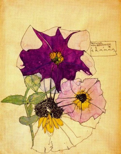 1914 Charles Rennie Mackintosh (Scottish architect, designer, watercolourist and artist, 1868-1928) ~ Petunia, Walbersciwk