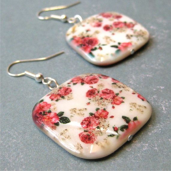 Red roses on square shell earrings  chintz. by planettreasures