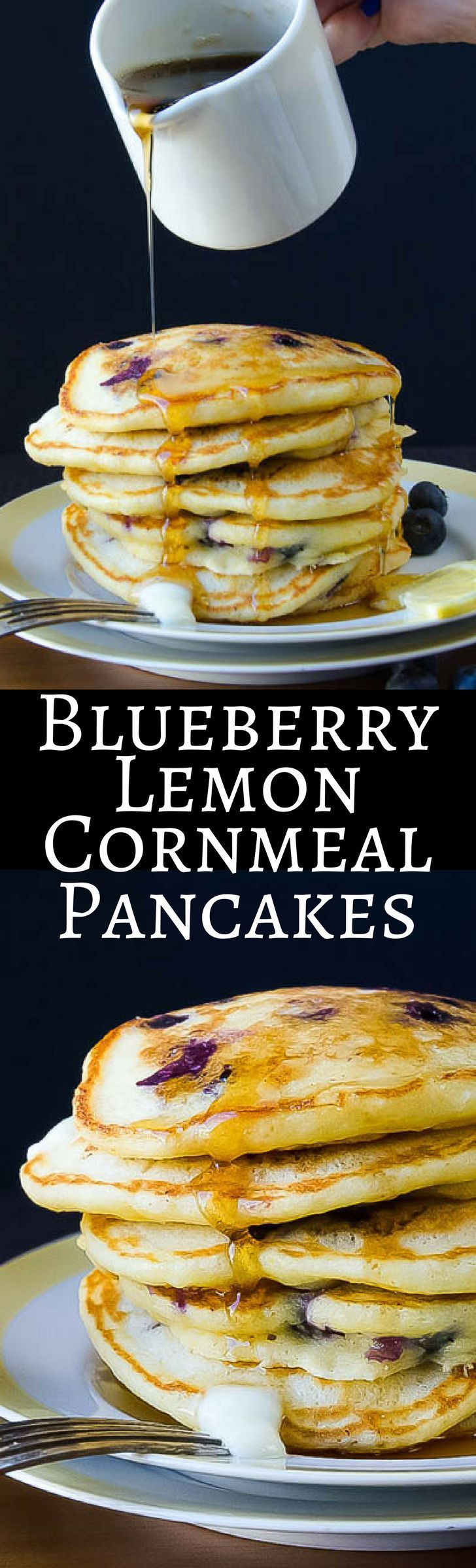 Blueberry Lemon Cornmeal Pancakes | Garlic & Zest