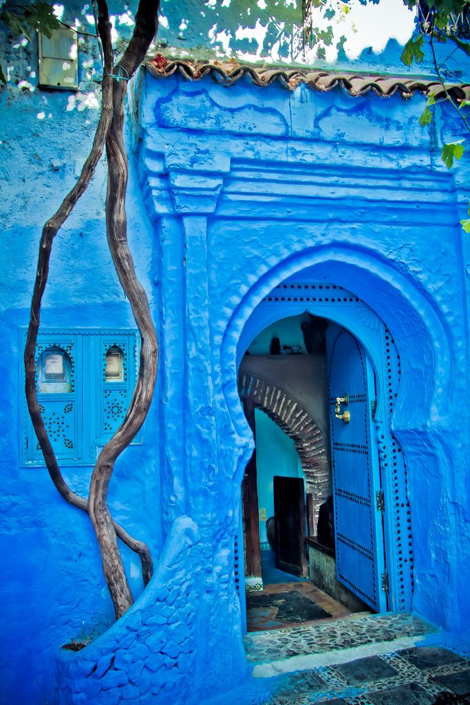 Chefchaouen, Morocco. This is a beautiful little town where everything is painted blue in order to keep the buildings cool during the summer. If you look at the walls closely, you can see the layers of blue that have been painted over the years! Very cool place to see if you're ever in Morocco