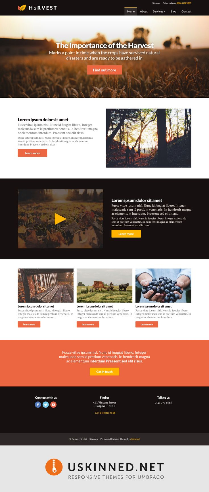 A great new simple and seasonal theme from uSkinned - Harvest. https://uskinned.net/themes/ #themes #website #web #design #webdesign #umbraco