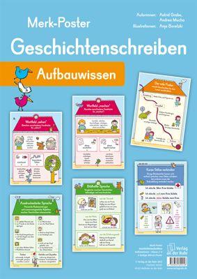 """Merk-Poster - Geschichtenschreiben – Aufbauwissen ++ #Organisationsmaterial für den #Deutschunterricht in der #Grundschule, Klasse 2-4 ++ Auf häufig gestellte Fragen zu ausdrucksstarker oder bildhafter Sprache, Wortfeldern, Satzverknüpfungen und Co. finden die Kinder auf den 6 liebevoll gestalteten Merk-Postern rund um das Thema #Geschichtenschreiben schnell eine passende Antwort. + Inhalt: """"Der rote Faden"""", """"Kurze Sätze verbinden"""", """"Ausdrucksstarke Sprache"""", """"Bildhafte Sprache"""" u.a…"""